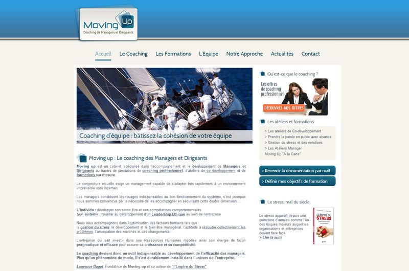 Site web Moving Up, coaching et formation d'entreprise