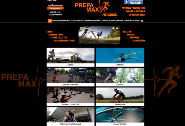 Page Accueil site www.prepamax.ch